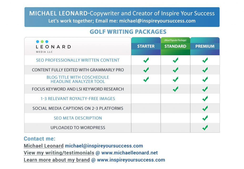 Michael Leonard - Golf Writer